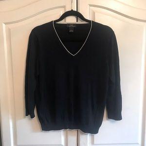 Brooks Brothers Silk & Cotton V-Neck Sweater